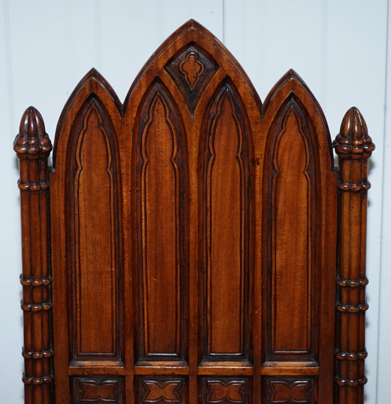Vintage Set of Four Gothic Style Steeple Back Carved Wood Dining Chairs Must See For Sale 3