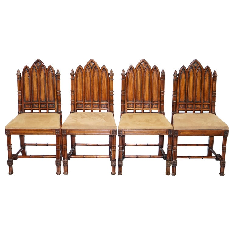 Vintage Set of Four Gothic Style Steeple Back Carved Wood Dining Chairs Must See For Sale