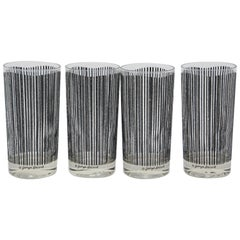 Vintage Set of Four Highball Glasses Black Textured Stripes by Georges Briard