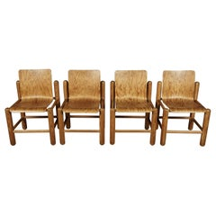 Vintage Set of Four Midcentury Pine Dining Chairs, Netherlands, circa 1970