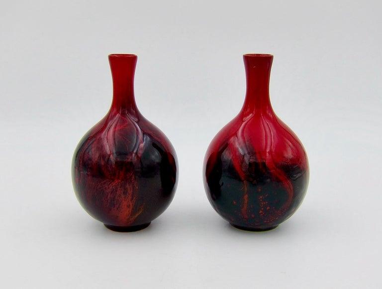 Glazed Vintage Set of Four Royal Doulton Veined Flambe Cabinet Vases For Sale