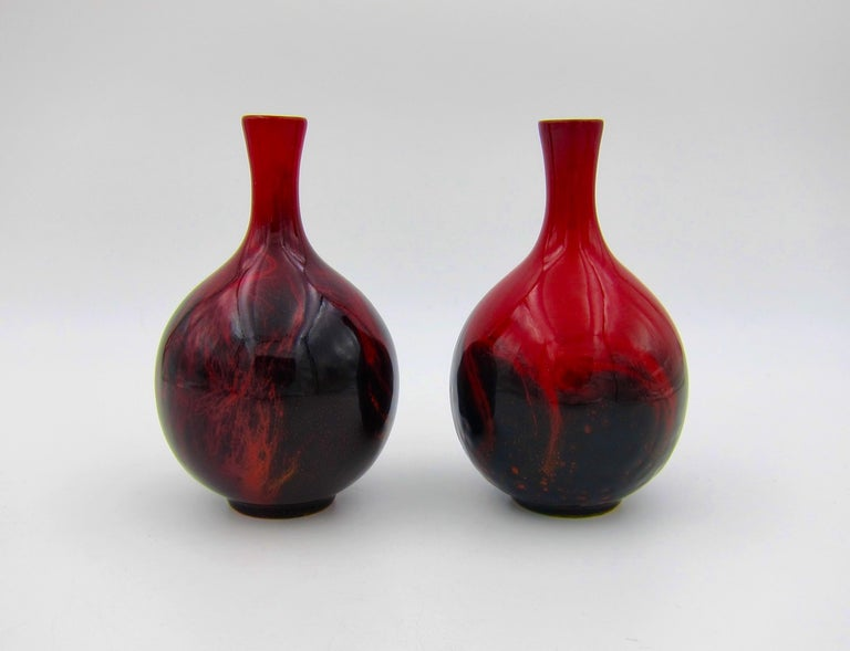 Vintage Set of Four Royal Doulton Veined Flambe Cabinet Vases In Good Condition For Sale In Los Angeles, CA