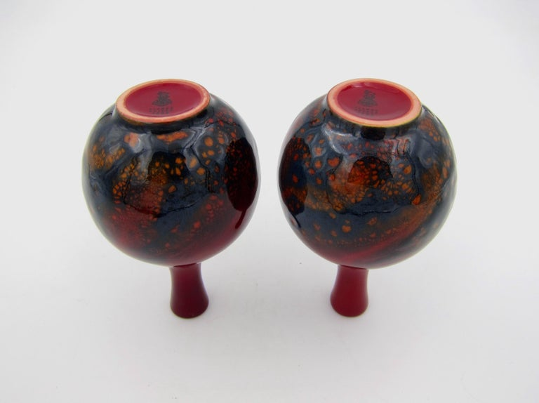 20th Century Vintage Set of Four Royal Doulton Veined Flambe Cabinet Vases For Sale