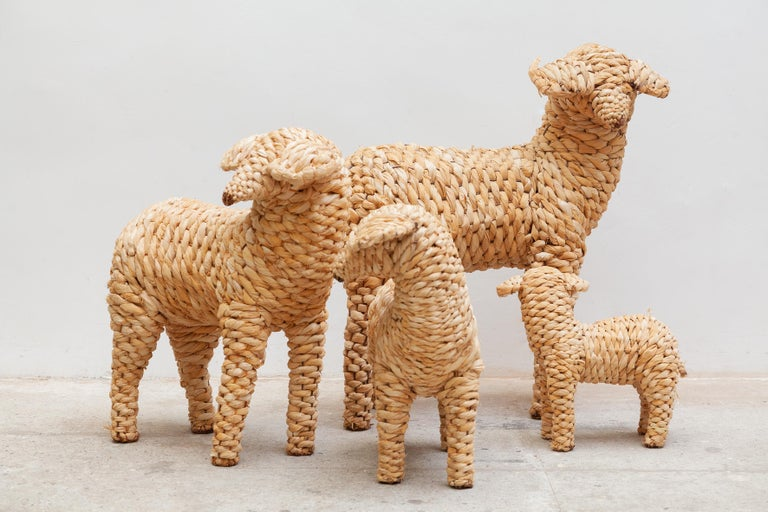 Decorative collection of four sheep's of different sizes in woven seagrass made in Spain 1990. Hand crafted in wicker, seagrass wrapped over a metal frame with.