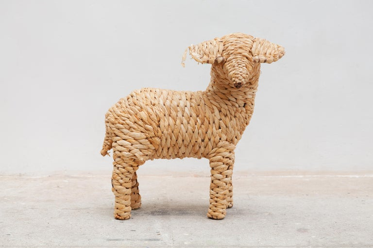 Late 20th Century Vintage Set of Four Sheep's Folk Art For Sale