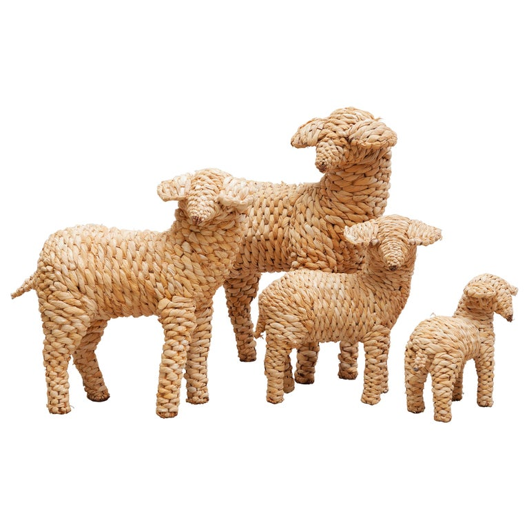 Vintage Set of Four Sheep's Folk Art For Sale