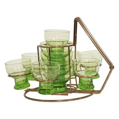 Vintage Set of Green Cocktail Glasses in Brass Cart, 1960s