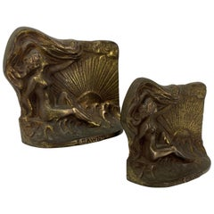 Vintage Set of Heavy Bronzed Cast Iron Nude Woman Bookends