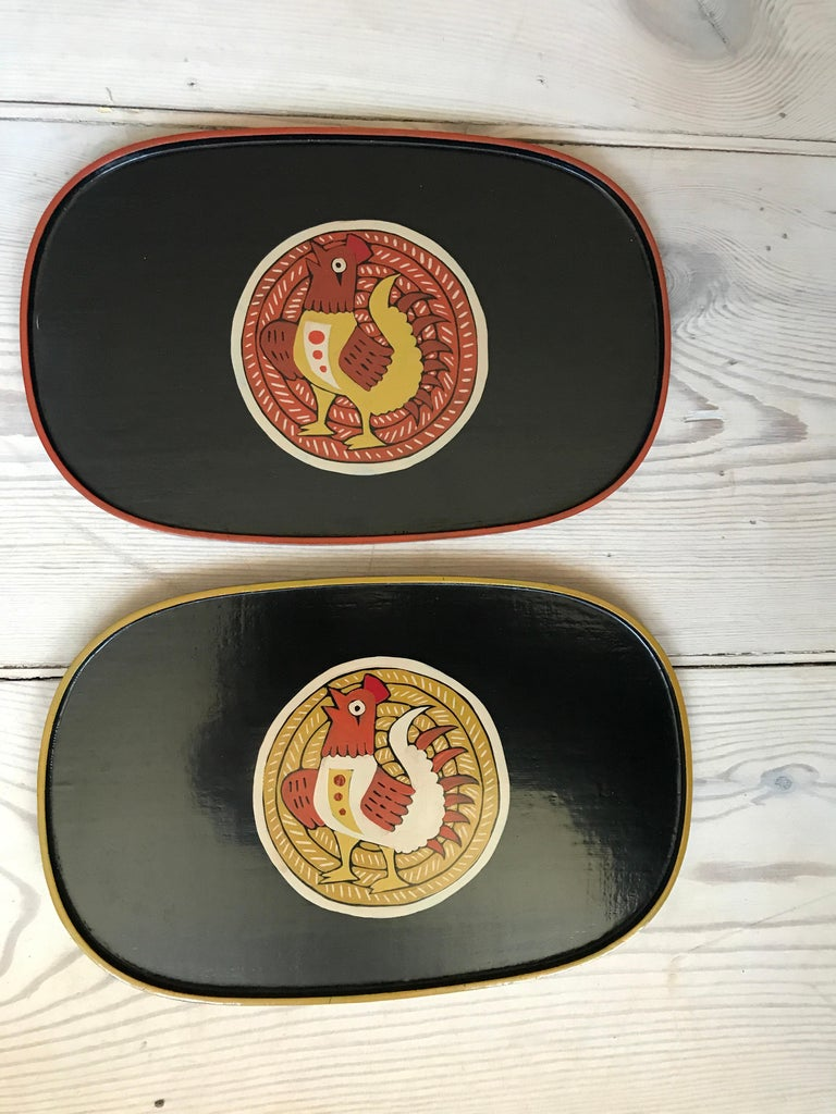 Vintage Set of Japanese Lacquer Trays with Decoration By Joji Harada, Japan 1995 In Good Condition For Sale In Copenhagen K, DK