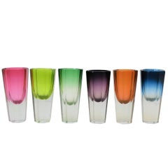 Set of 6 European Octagonal Crystal Shot Glasses in a Rainbow of Colors