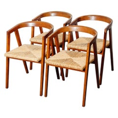 Vintage Set of Seagrass and Oak Dining Chairs