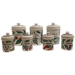 Vintage Set of Seven Ceramic Storage Jars by Piero Fornasetti, Italy, circa 1960