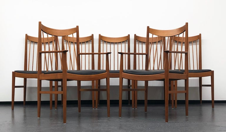 Vintage Set of Seven Teak Spindle Back Dining Chairs by Arne Vodder for Sibast For Sale 3