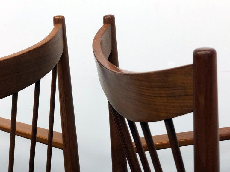 Vintage Set of Seven Teak Spindle Back Dining Chairs by Arne Vodder for Sibast For Sale 7