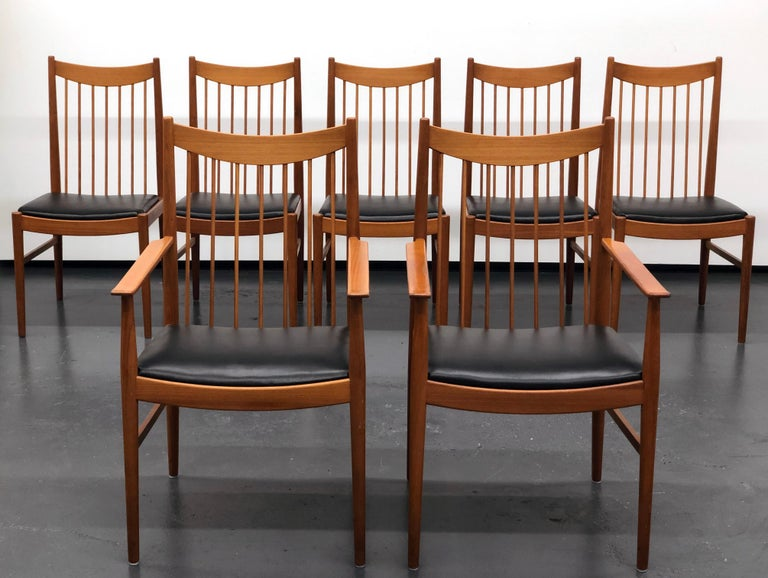 Mid-Century Modern Danish Modern Set of Six Plus One Teak Spindle Back Dining Chairs  Arne Vodder  For Sale