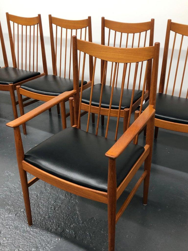 Vintage Set of Seven Teak Spindle Back Dining Chairs by Arne Vodder for Sibast For Sale 2