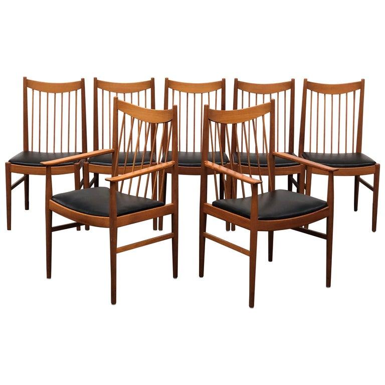 Vintage Set of Seven Teak Spindle Back Dining Chairs by Arne Vodder for Sibast For Sale