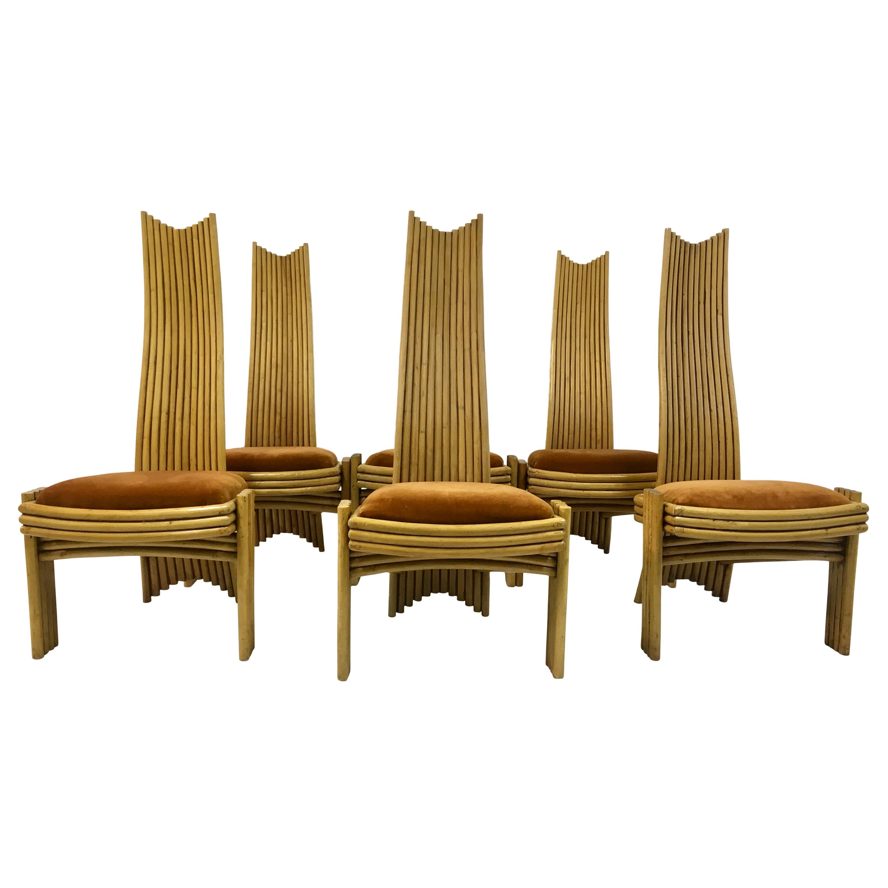 Vintage Set of Six 1970s Bamboo Dining Chairs
