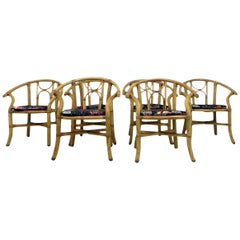 Vintage Set of Six 1970s Italian Bamboo Armchairs
