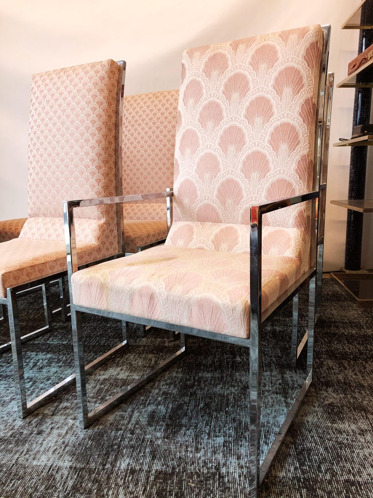 Vintage Set of Six Chrome Dining Chairs Attributed to Milo Baughman, circa 1970s For Sale 4