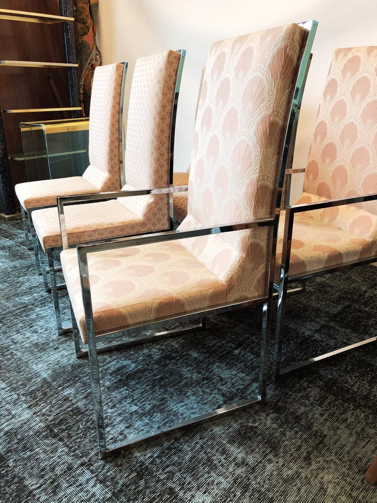 Vintage Set of Six Chrome Dining Chairs Attributed to Milo Baughman, circa 1970s For Sale 5