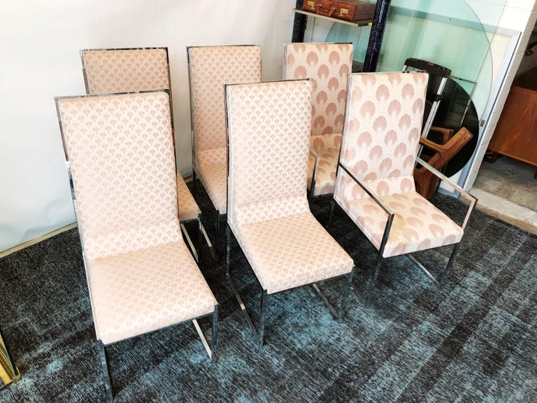 Vintage Set of Six Chrome Dining Chairs Attributed to Milo Baughman, circa 1970s For Sale 6