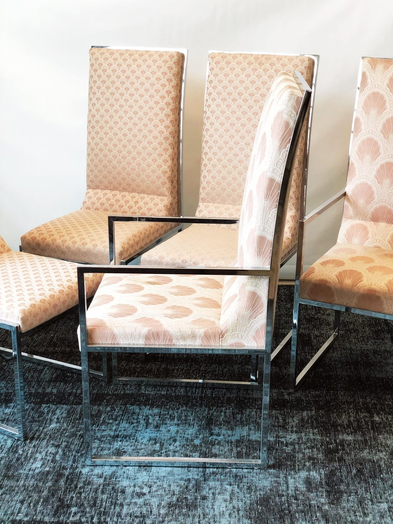 Mid-Century Modern Vintage Set of Six Chrome Dining Chairs Attributed to Milo Baughman, circa 1970s For Sale