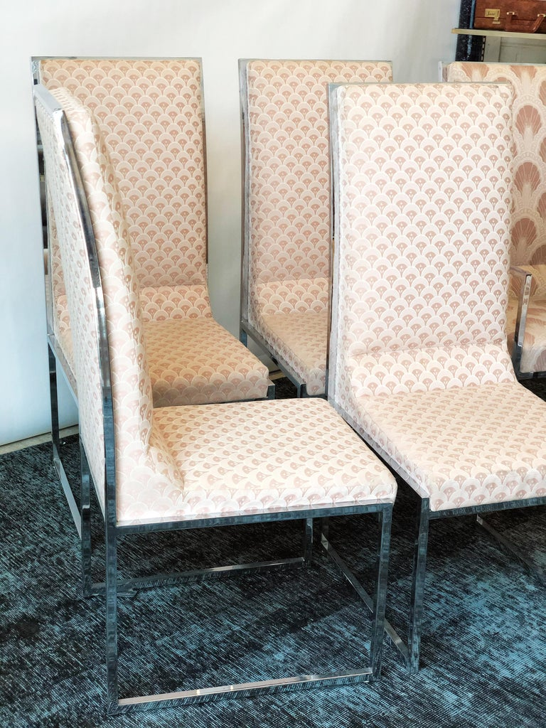 Vintage Set of Six Chrome Dining Chairs Attributed to Milo Baughman, circa 1970s In Good Condition For Sale In San Antonio, TX