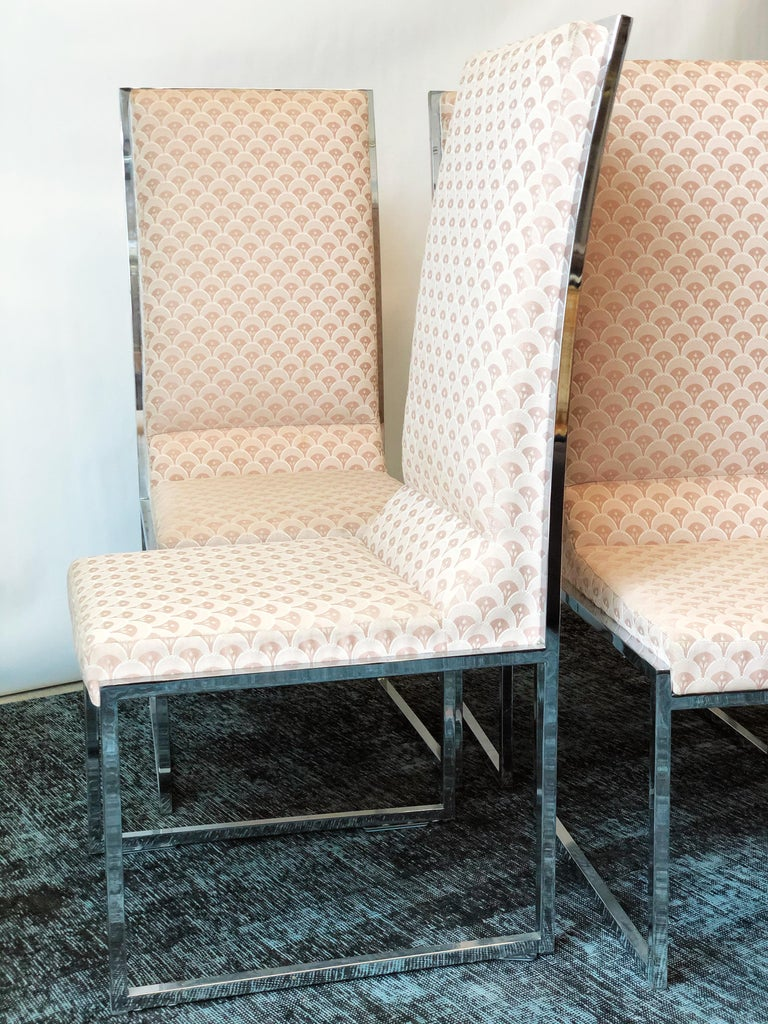 Late 20th Century Vintage Set of Six Chrome Dining Chairs Attributed to Milo Baughman, circa 1970s For Sale