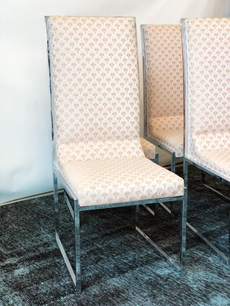 Upholstery Vintage Set of Six Chrome Dining Chairs Attributed to Milo Baughman, circa 1970s For Sale
