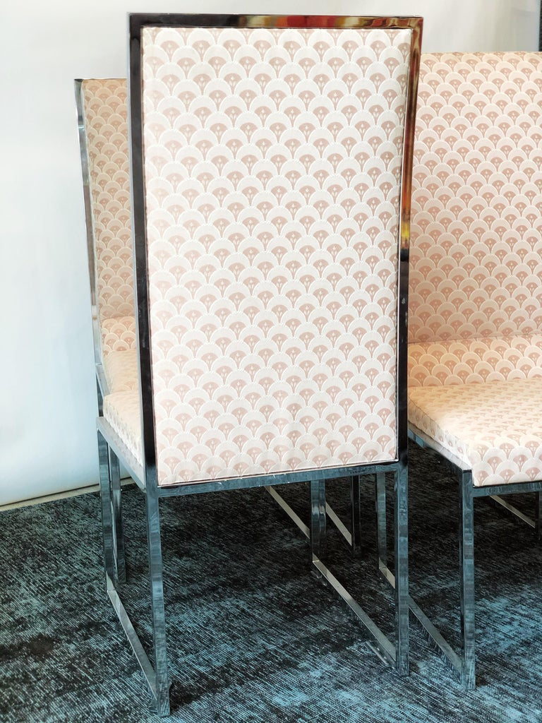 Vintage Set of Six Chrome Dining Chairs Attributed to Milo Baughman, circa 1970s For Sale 1