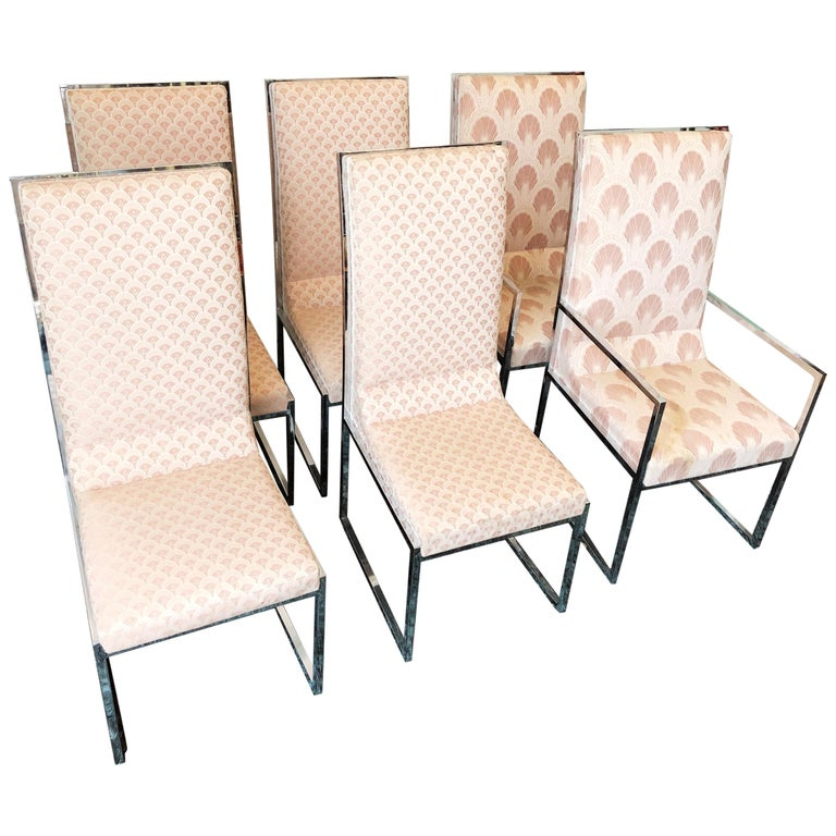 Vintage Set of Six Chrome Dining Chairs Attributed to Milo Baughman, circa 1970s For Sale