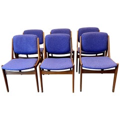 Vintage Set of Six Danish Modern Dining Chairs by Arne Vodder, circa 1960s