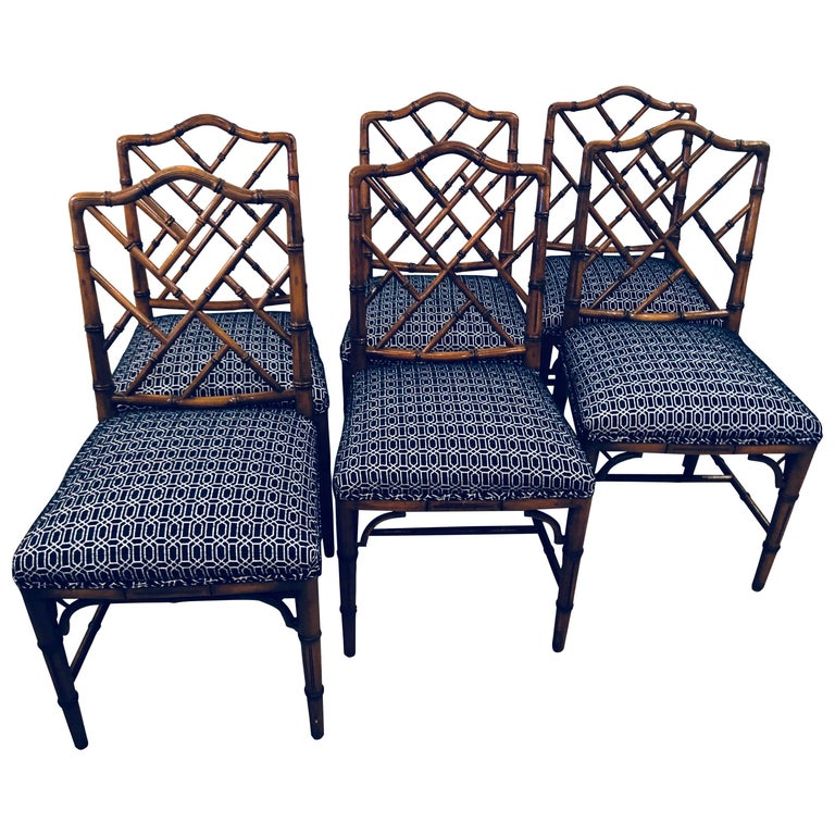 Vintage Set Of Six Faux Bamboo Chinese Chippendale Dining Chairs By
