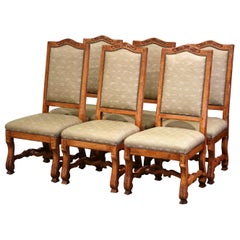 Vintage Set of Six French Louis XIII Carved and Distressed Walnut Dining Chairs