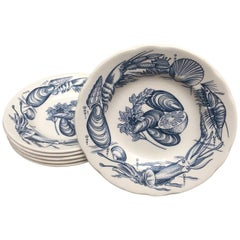 Vintage Set of Six Ironstone Soup Bowls with Shellfish Decoration in Blue