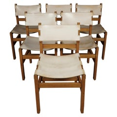Vintage Set of Six Leather Dining Chairs From France, 1970s