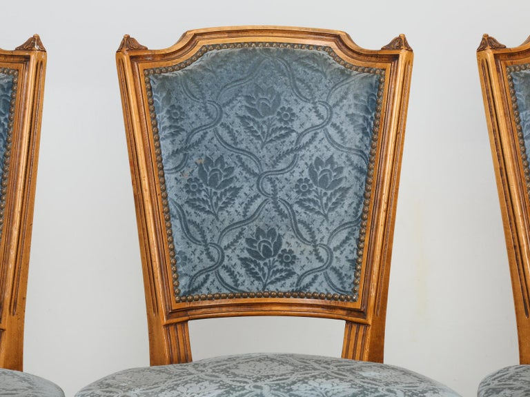 French Louis XVI style dining chairs in their original finish with rather dirty old fabric. Structurally fine, but will require new fabric covering.