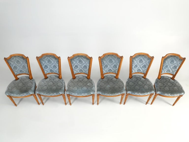 Beech Vintage Set of Six Louis XVI Style Dining Side Chairs in Old Fabric For Sale