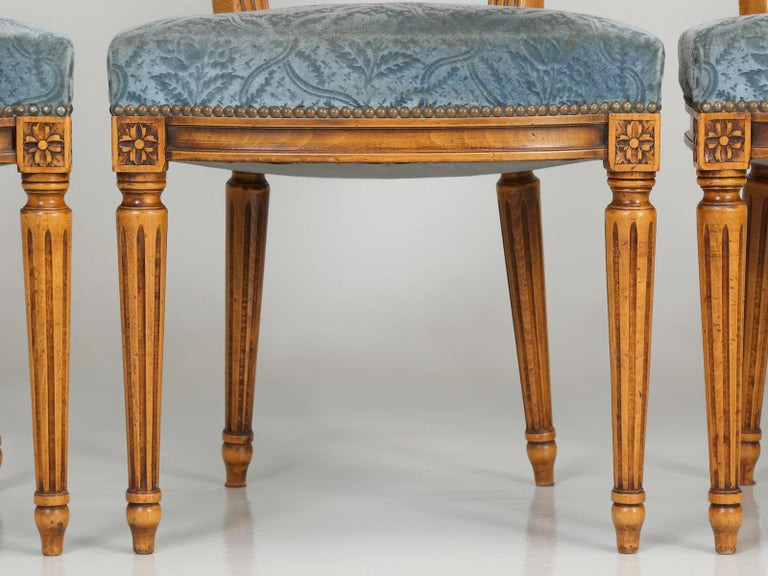 Vintage Set of Six Louis XVI Style Dining Side Chairs in Old Fabric For Sale 2