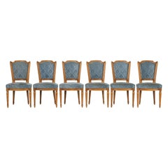 Vintage Set of Six Louis XVI Style Dining Side Chairs in Old Fabric