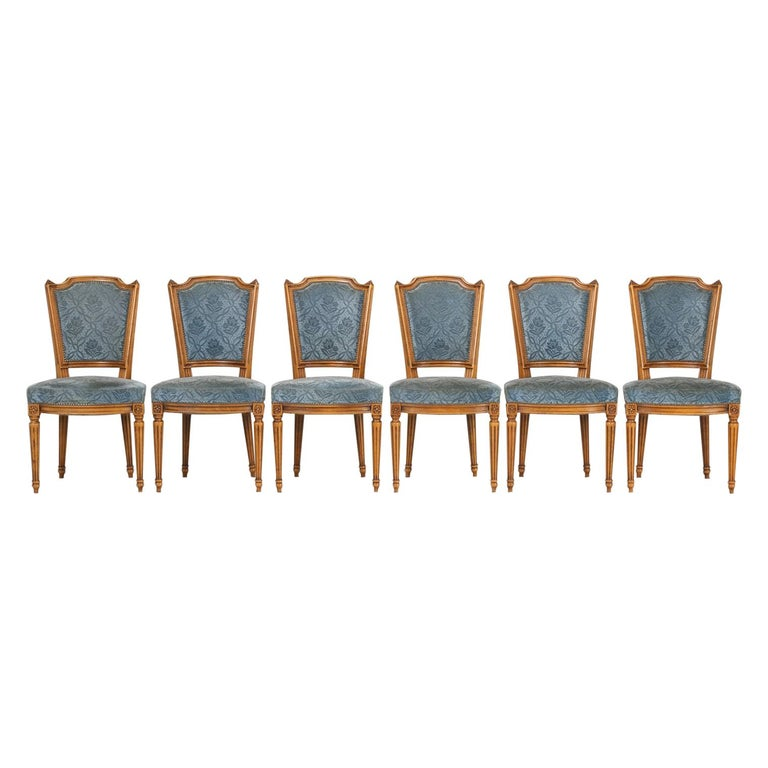 Vintage Set of Six Louis XVI Style Dining Side Chairs in Old Fabric For Sale