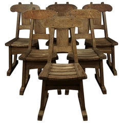 Vintage Set of Six Oak Dining Chairs in Oak, from Holland, circa 1960