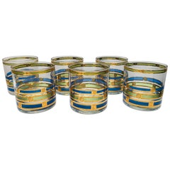 Vintage Set of Six Rock Glasses Blue, Green and Gold by Georges Briard