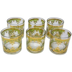 Vintage Set of Six Rock Glasses Green and Gold by Georges Briard