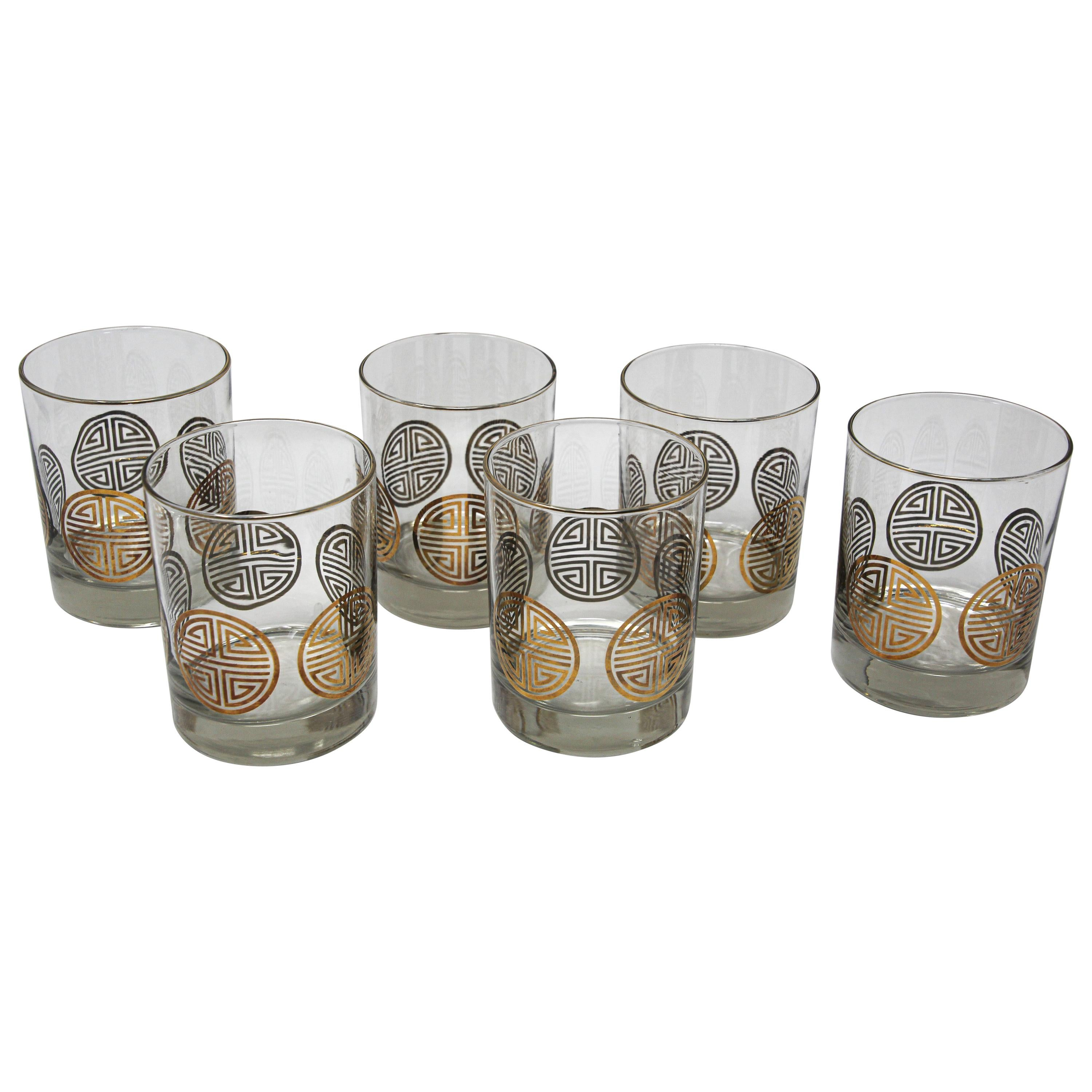 Vintage Set of Six Rock Glasses with Gold Pattern by Georges Briard