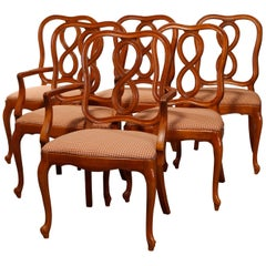 Vintage Set of Six Satinwood French Country Dining Chairs, 20th Century