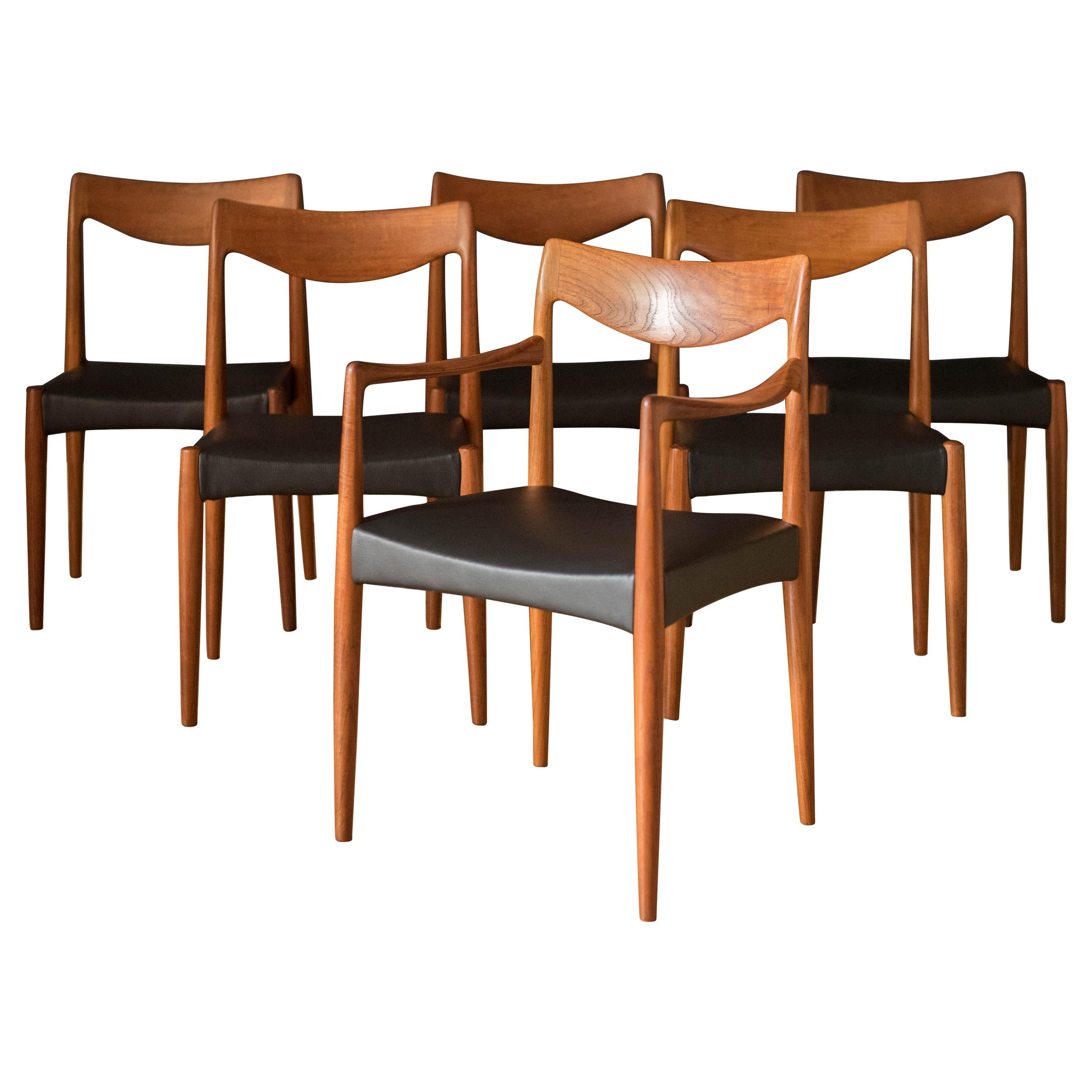 Vintage Set of Six Teak Dining Chairs by Rastad & Relling for Gustav Bahus