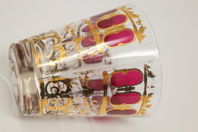 Vintage Set of Six Culver Glasses with 22-Karat Gold and Red Moorish Design For Sale 5
