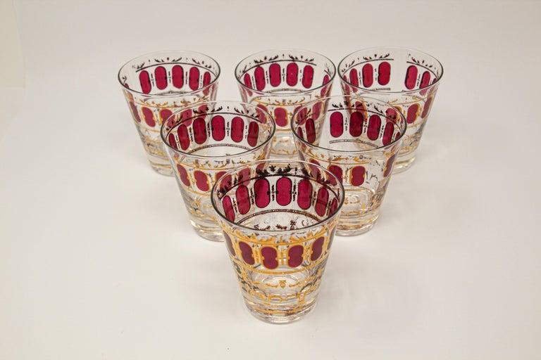 "Elegant vintage midcentury Culver barware glasses with Valencia pattern in a gold leaf finish. Midcentury American glassware set of 1960s Vintage Culver LTD ""Cranberry"" rocks glasses, 22-karat gold, signed by Culver Ltd. Wonderful set of six ornate"